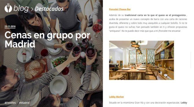El Tenedor «Cenas en grupo por Madrid»
